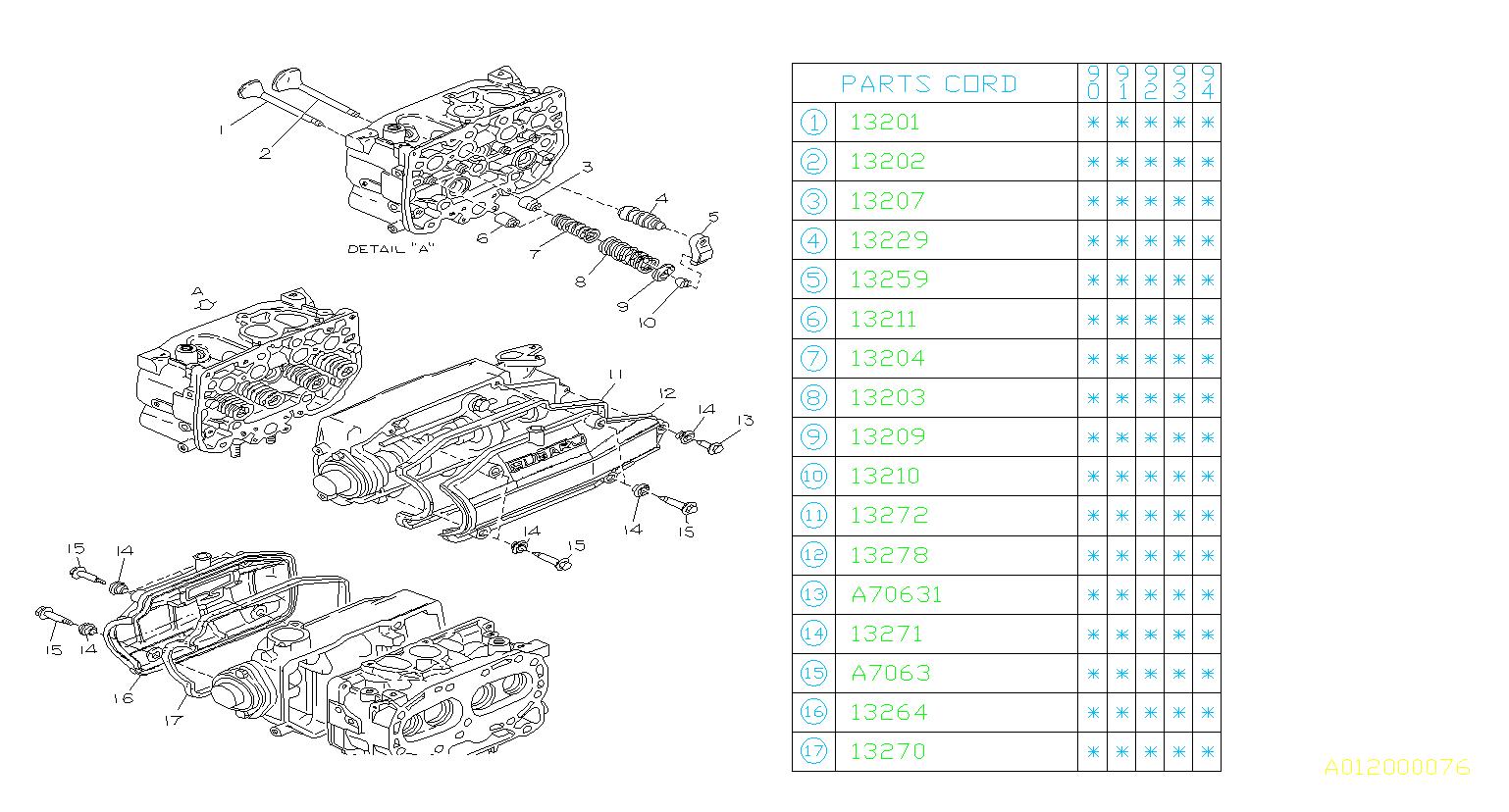 Subaru       Loyale    Bolt Valve  mechanism  800706310   Ciocca    Subaru     Allentown PA