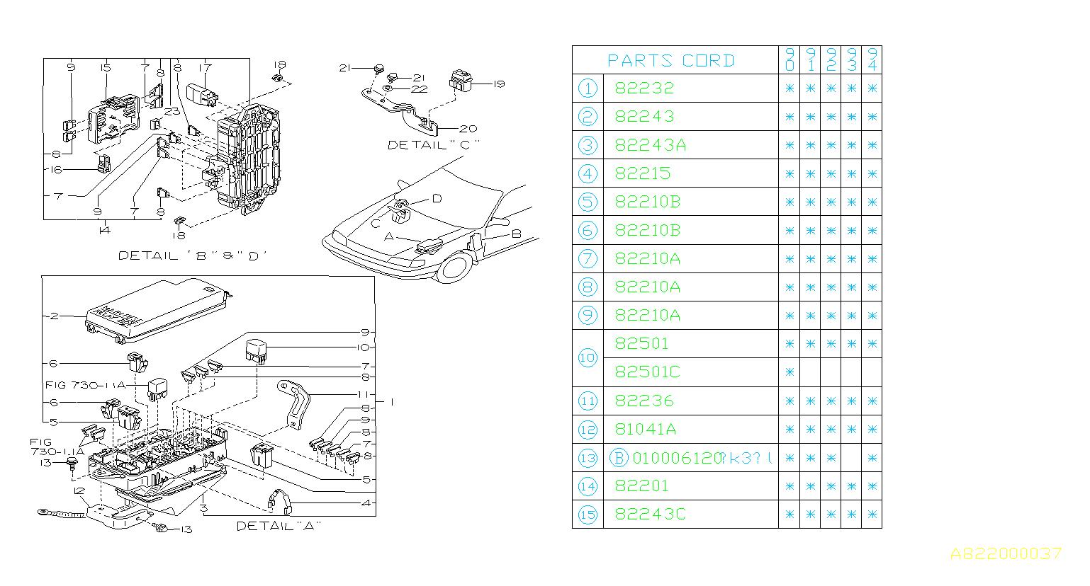 Subaru Legacy Fuse  Box  Electrical  Main