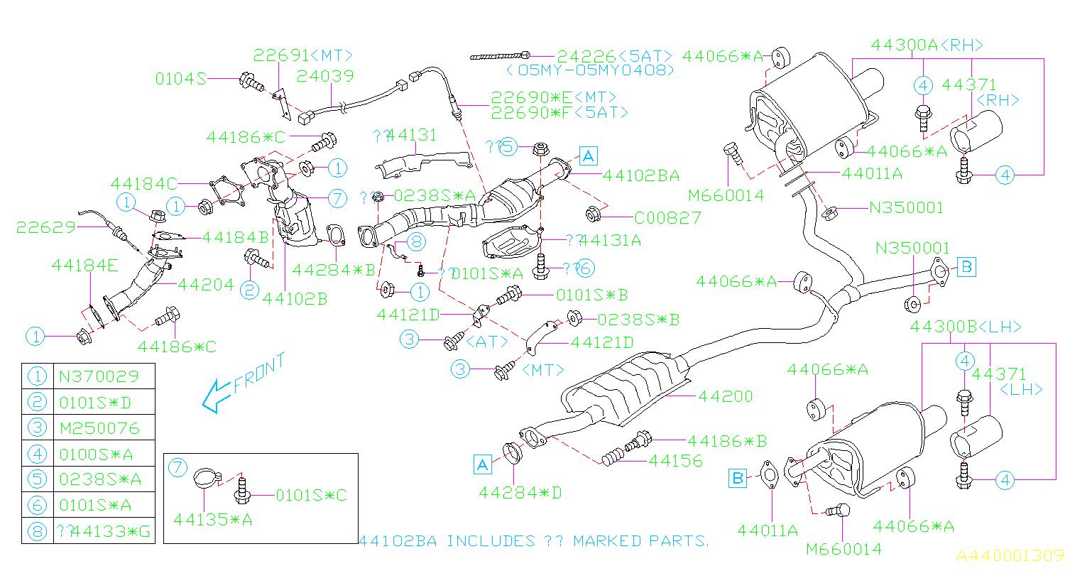 Subaru Outback Gasket Exhaust Turbo   Inlet   Muffler