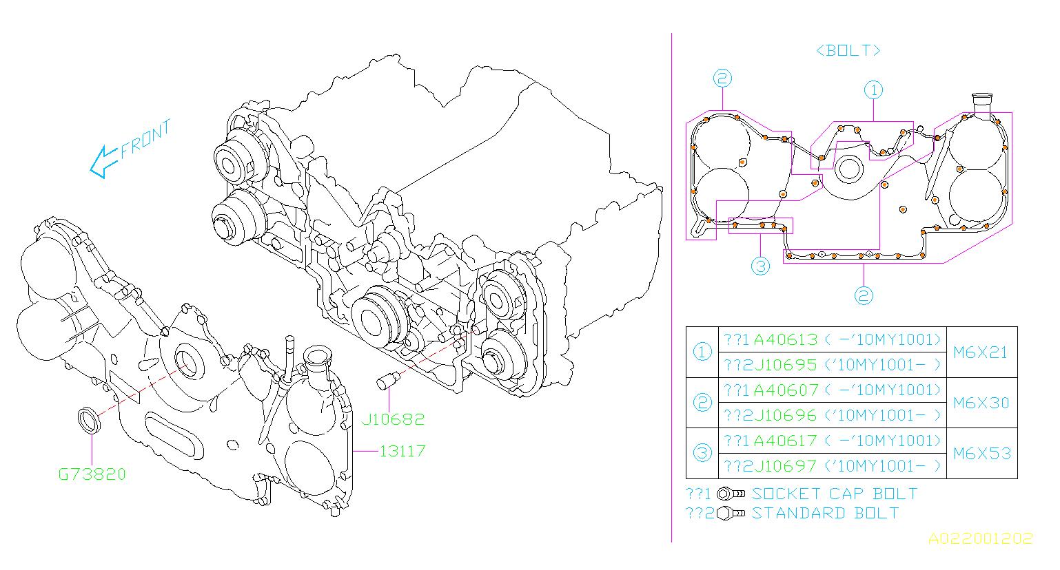 Subaru Outback Bolt-socket  Belt  Cover  Timing  Engine  Cooling