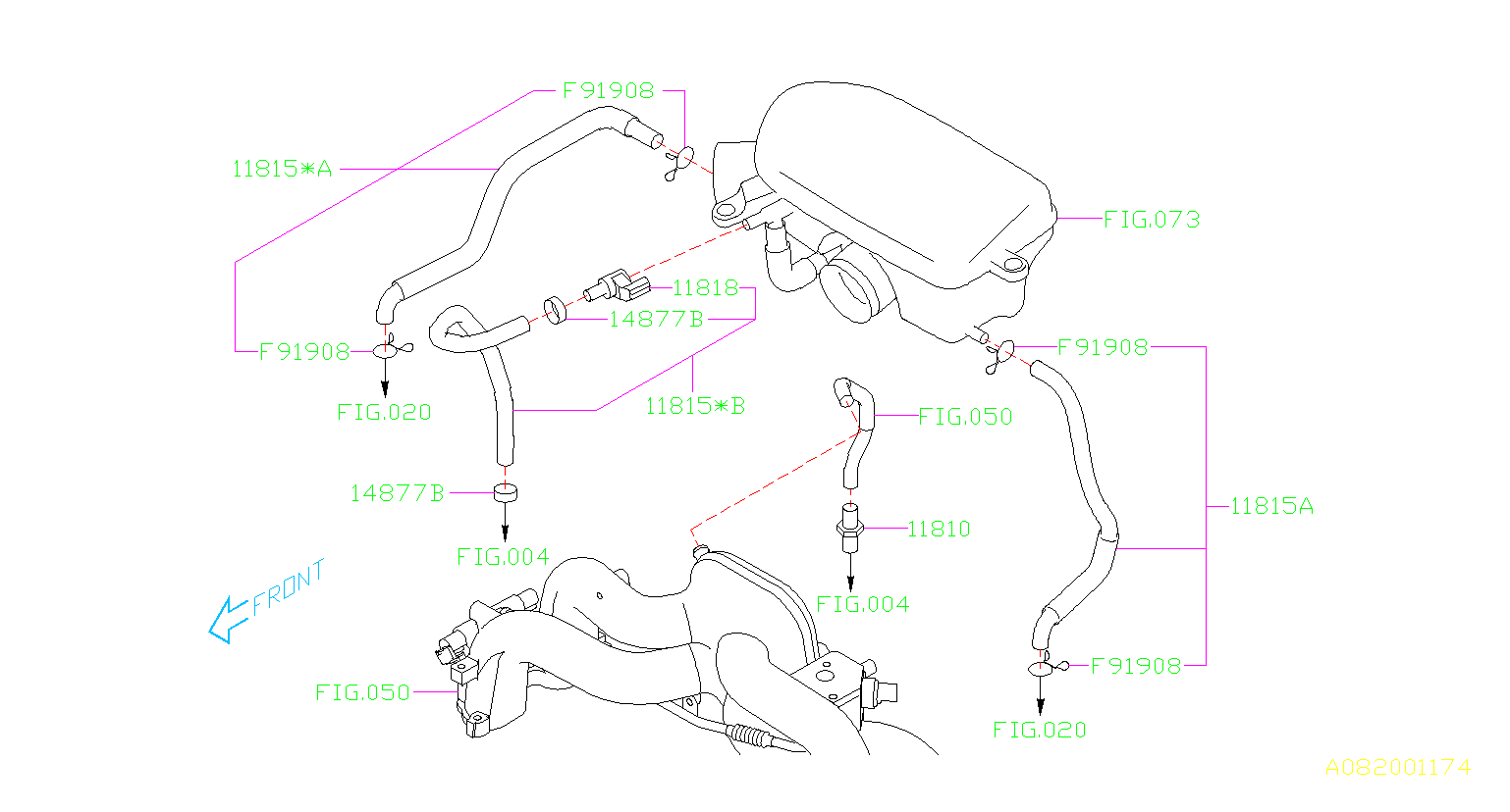 Subaru Impreza Pcv Valve Hose  Exc U5  Control  Emission