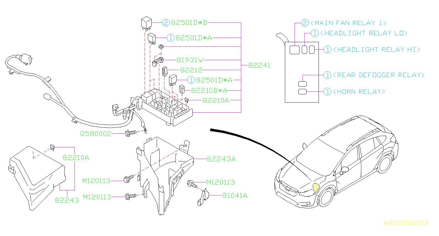 Subaru Crosstrek Accessory Power Relay  Box  Fuse  Main