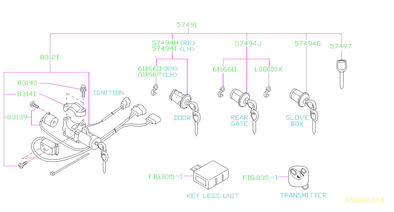 Subaru Forester Key Lock Set
