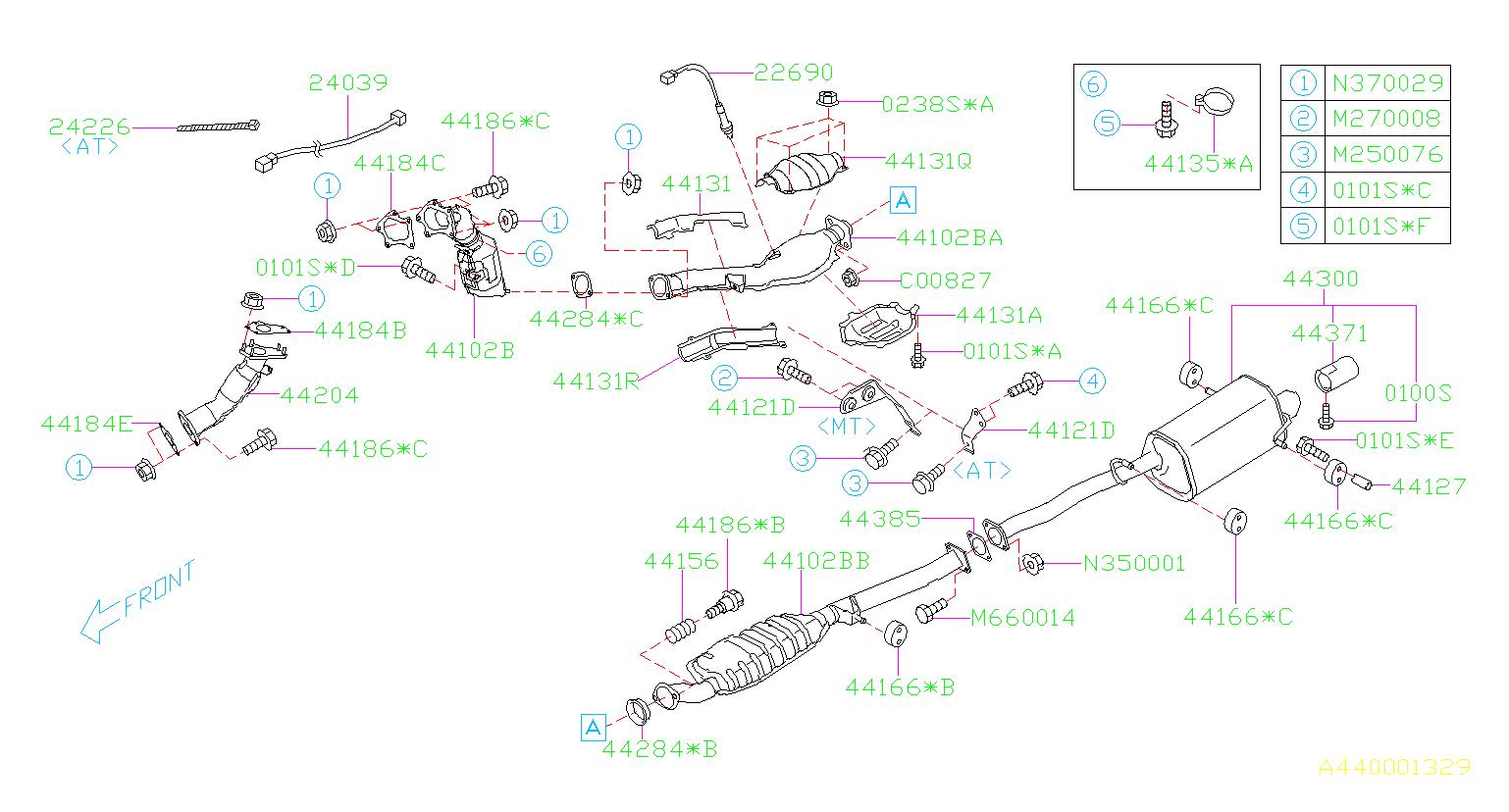 Subaru Forester Oxygen Sensor  Exhaust  Muffler