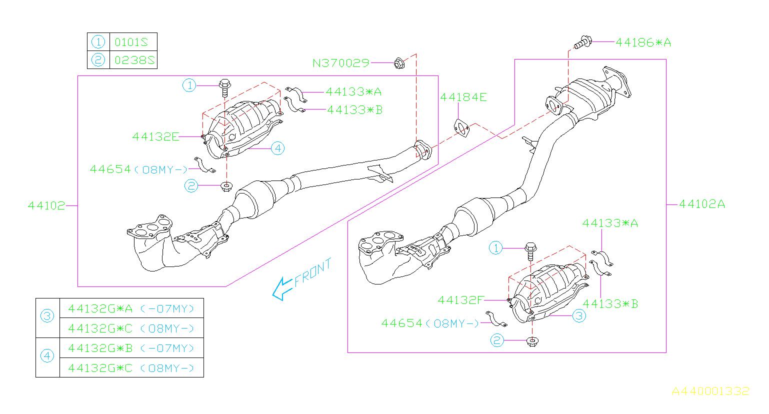Subaru Tribeca Clamp  Exhaust  Front  Pipe  Engine